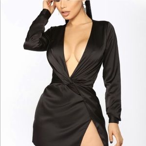 Black Satin Dress with Slit